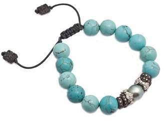 Armenta New World Sterling Silver Pave Diamond & Tahitian Pearl Charm Beaded Magensite Adjustable Bracelet