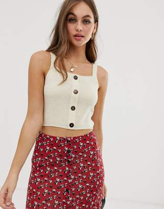 Asos Design DESIGN button through knitted singlet in natural look yarn