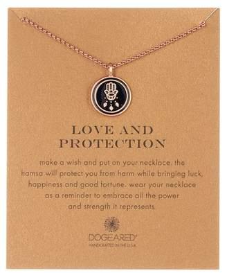 Dogeared Love & Protection Enamel Hamsa Pendant Necklace