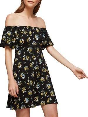Miss Selfridge Floral Off-the-Shoulder Mini Dress