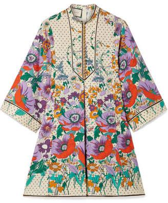 Gucci Printed Cotton-poplin Mini Dress - White