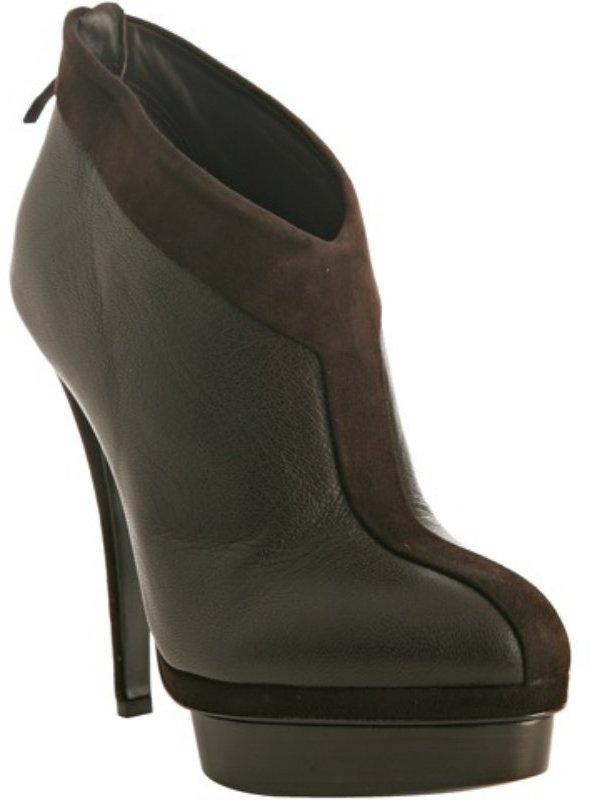 Yves Saint Laurent brown leather suede trim platform booties