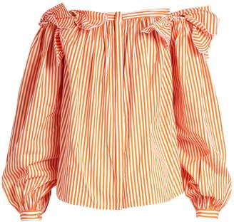 Maison Rabih Kayrouz Off-the-shoulder striped cotton top