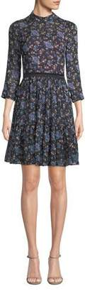 Rebecca Taylor Solstice Floral High-Neck Short Dress