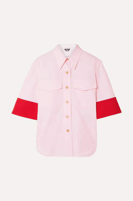 Calvin Klein Two-tone Wool-twill Trimmed Cotton-poplin Shirt - Baby pink