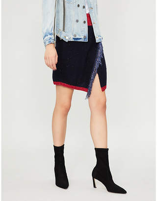 Pinko Aconito fringe-trimmed knitted mini skirt