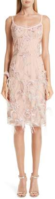 Marchesa Ostrich Feather Trim Embroidered Corset Dress
