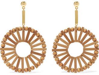 Cult Gaia Eva Bamboo And Gold-tone Earrings - Sand