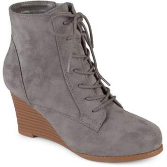 Co Brinley Womens Lace-up Faux Suede Stacked Wedge Booties