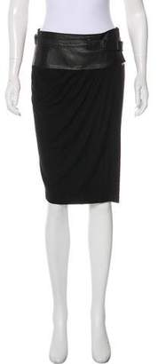 Donna Karan Leather-Trimmed Knee-Length Skirt