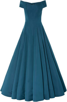 Zac Posen Sapphire Double Face Duchess Bow Satin Gown