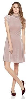 Painted Heart Women's High-Neck Fit-and-Flare Textured Stripe Velvet Dress