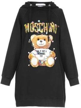 Moschino Holiday Teddy Hooded Sweatshirt-Dress
