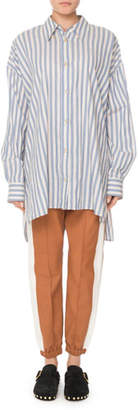 Isabel Marant Maca Button-Down Long-Sleeve Striped Oversize Blouse