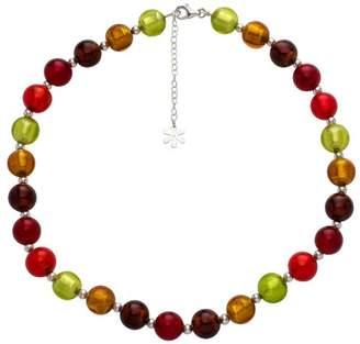 Valentina Murano Glass Red Mix Necklace of Length 45 cm
