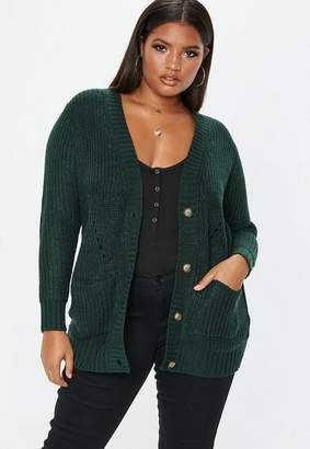 Missguided Plus Size Green Button Through Cardigan