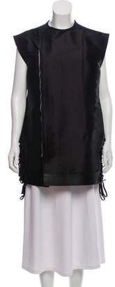 Rick Owens Leather Trim Silk Vest