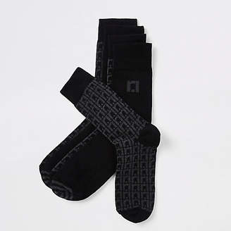 River Island Grey RI monogram tube socks
