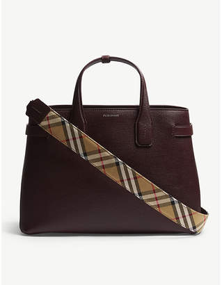 Burberry Mahogany Red Check Vintage Banner Grained Leather Tote Bag