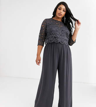 TFNC Plus Plus Bridesmaid high neck top pleated jumpsuit in grey