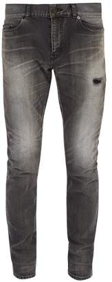 Saint Laurent Slim Leg Washed Denim Jeans - Mens - Black