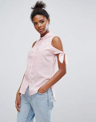 Only Tie Sleeve Stripe Shirt Tunic