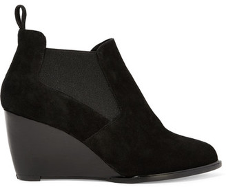 Robert Clergerie - Olav Suede Wedge Ankle Boots - Black $650 thestylecure.com