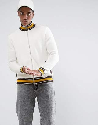 Asos Textured Retro Track Top in Ecru with Brown and Yellow Highlights