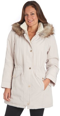 Fleet Street Women's Faux-Fur Hooded Midweight Anorak Jacket