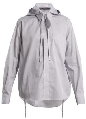 Craig Green Striped tie-neck hooded cotton shirt