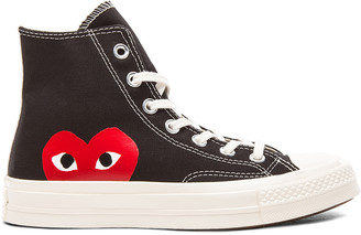 Comme des Garcons Converse Large Emblem High Top Canvas Sneakers in Black | FWRD