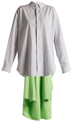 Balenciaga Point Collar Draped Detail Striped Shirt - Womens - Blue Multi