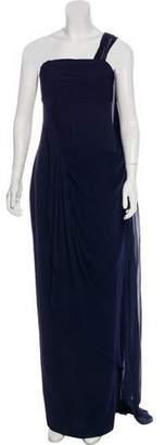Marchesa Silk One-Shoulder Evening Dress