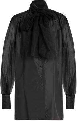 MAFALDA VON HESSEN Tulle-panel silk-taffeta blouse