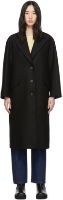 Harris Wharf London Black Pressed Wool Oversized Great Coat