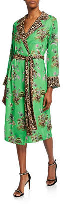 Le Superbe Vacation Robe Floral & Leopard Print Tie-Waist Dress