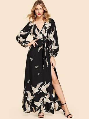 a3ce9a9727c Shein Crane Print Split Wrap Belted Maxi Dress