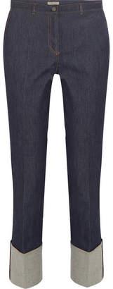 Bottega Veneta Leather-trimmed Cropped High-rise Straight-leg Jeans - Mid denim