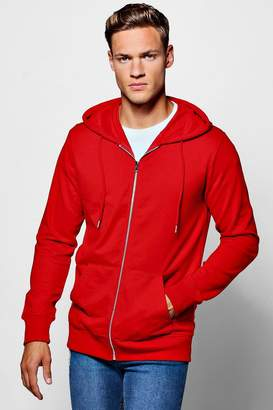 Lightweight Basic Zip Through Hoodie
