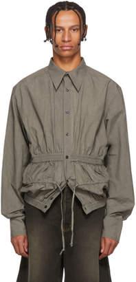 Chin Mens Grey Poplin Gathering Shirt
