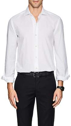 Barneys New York MEN'S COTTON PIQUÉ SHIRT - WHITE SIZE XL