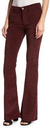 MiH Marrakech Velvet High-Rise Kick-Flare Jeans, Burgundy $235 thestylecure.com