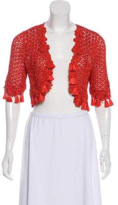 Oscar de la Renta Silk Crocheted Shrug