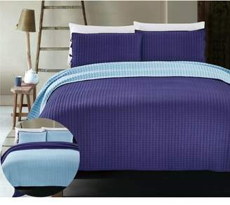 California Design Den X Cross Stitch 3-Piece Reversible Navy Bedding Coverlet Set, Queen Size Lightweight Quilted Bedspreads, Navy/Light Blue