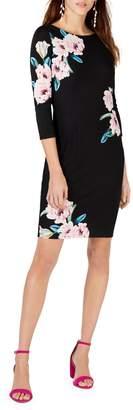 INC International Concepts Petite Long-Sleeve Floral Shift Dress