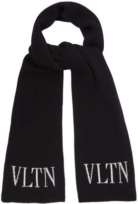 Valentino Logo-intarsia wool and cashmere-blend scarf