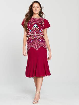 Frock and Frill Embroidered Double Layer Midi Dress - Persian Red