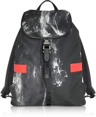 Neil Barrett Black/White Liquid Ink Printed Nylon Rucksack w/Red Leather Band