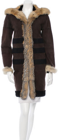 Balenciaga Balenciaga Striped Shearling Coat