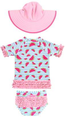 RuffleButts Watermelon Two-Piece Rashguard Swimsuit & Floppy Hat Set